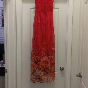 Pink floral long dress